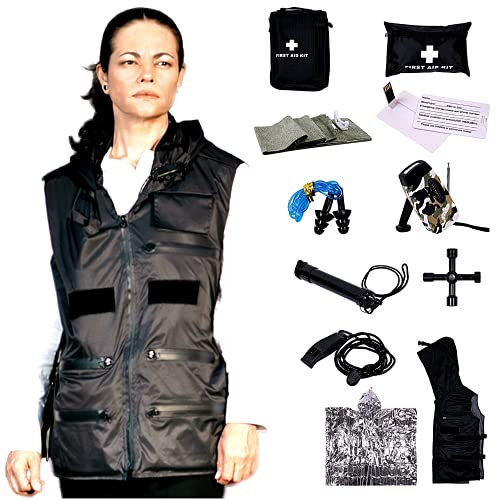 FIRST MINUTE VEST survival kit preloaded with 11 preparedness items in flame resistant waterproof concealed carry vest to face hurricane, earthquake and urban emergencies. Great gift for Father's Day