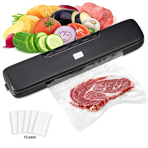 Vacuum Sealer Machine, Adoric Food Sealer, Automatic Dry & Wet Food Sealers Vacuum Packing Machine with Suction Hose and 15 Vacuum Bags Included
