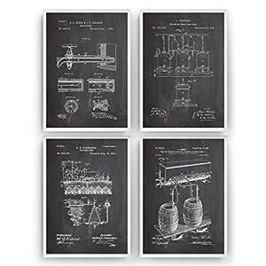 Bier brauen Patent Poster – Satz von 4 – Brauerei Trinken Bar Herstellung Kneipe Mauer Zeichnungen Print Art Kunst…
