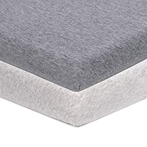 Pro Goleem Jersey Cotton Pack n Play Playard Sheet 2 Pack Soft 27×39 Inch Fitted Portable Mini Crib Sheet Playpen Sheet Playard Mattress Cover for Boys and Girls Gray and White