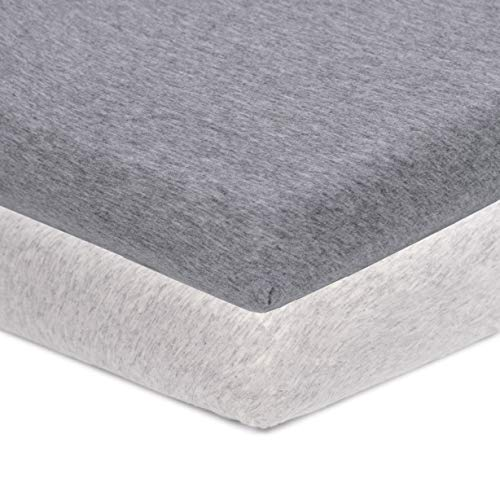 Pro Goleem Jersey Cotton Pack n Play Playard Sheet 2 Pack Soft 27x39 Inch Fitted Portable Mini Crib Sheet Playpen Sheet Playard Mattress Cover for Boys and Girls Gray and White