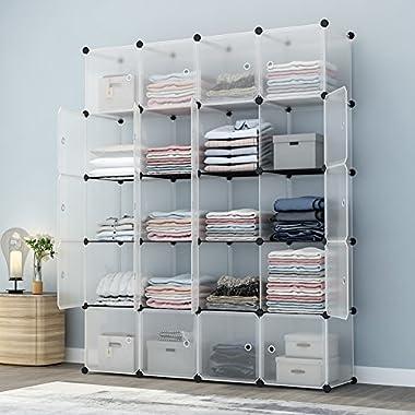 KOUSI Portable Storage Shelf Cube Shelving Bookcase Bookshelf Cubby Organizing Closet Toy Organizer Cabinet, Transparent White, 20 Cubes Storage