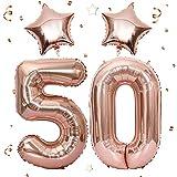 Unisun Globos digitales gigantes de oro rosa con 2 globos de 18 pulgadas de 18 pulgadas de hoja de estrella para niñas y mujeres, decoraciones de 50 o 5 cumpleaños, aniversarios, bodas, fiestas