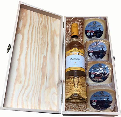 Geschenkbox mit Malvasia - Malvazija Weisswein und Pager Käse - Paski Sir und Tartufin Trüffel Käse in einem Feinschmecker Wein Geschenkset von Kolan, Insel Pag Geschenkkorb aus Kroatien (Einweg)