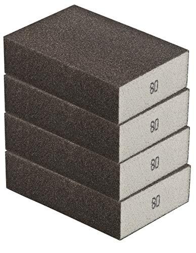 Schleifschwamm 4er Set GROB, robuste Körnung 80 I DIY, Handschleifer, für viele Materialien geeignet I hochwertiger Handschleifklotz, Schleifklotz, Schleifblock
