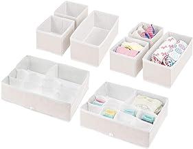 mDesign Cajas organizadoras para Cuarto Infantil – Elegantes cestas de Tela de Diferentes tamaños – Organizadores para armarios de Fibra sintética Transpirable – Juego de 8 – Crema/Blanco