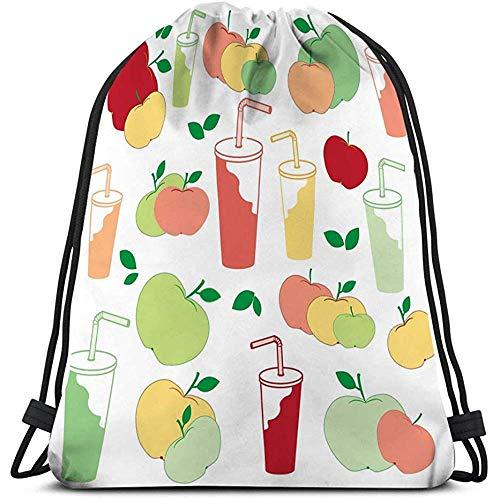 BOUIA Drawstring Bag schönes Bild Äpfel Apfelsaft reich an Vitamin C schönes Bild Äpfel Apfelsaft reich an Vitamin C weiß