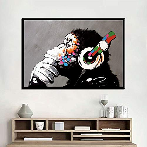 hetingyue Frameless graffiti moderne kunst bank straat schilderij dier poster en muurschildering retro schilderij decoratie poster