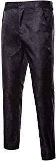 Men's Stylish Paisley Flat Front Casual Jacquard Dress Suit Pants