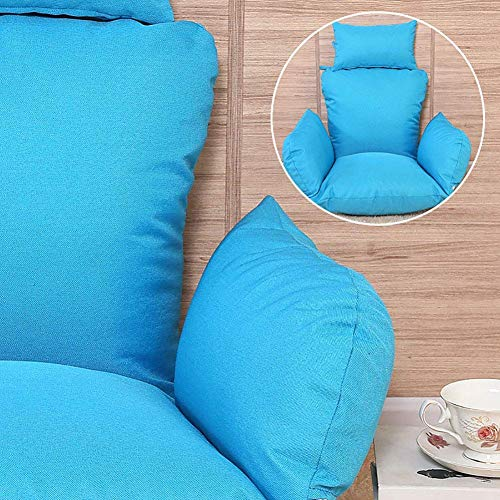 Hanging Basket Chair Cushions, Large Seat Cushioning Hanging Egg Hammock Swing Chair Pads Cradle Removable Seat Cushioning Multi Color-blue