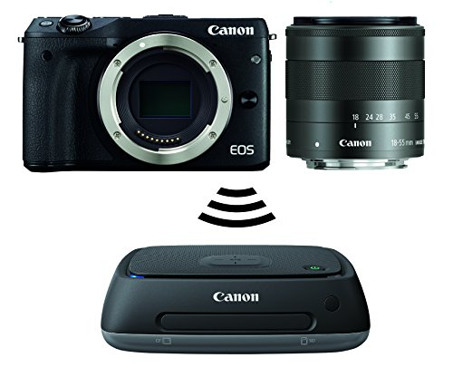 Canon EOS M3 Systemkamera (24 MP APS-CCMOS-Sensor, WiFi, NFC, Full-HD, Kit inkl. EF-M 18-55mm IS STM Objektiv plus Connect Station CS100) schwarz
