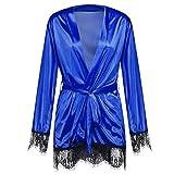 GO-AHEAD Kimono Mujer Ropa de Noche de Seda de Las Mujeres Verano Sexy Azul LIRIBLE Correa DE Correa DE Correo Robe (Size : Large)