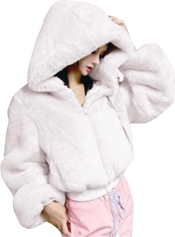 haoricu Hoodie Shaggy Cropped Sweater Fur Coat Wool Coat Jacket Petite Peacoats for Women Faux Fur