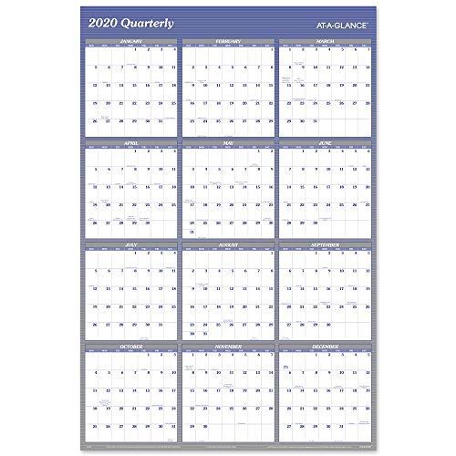 2020 Dry Erase Wall Calendar, AT-A-GLANCE Erasable Planner, 48