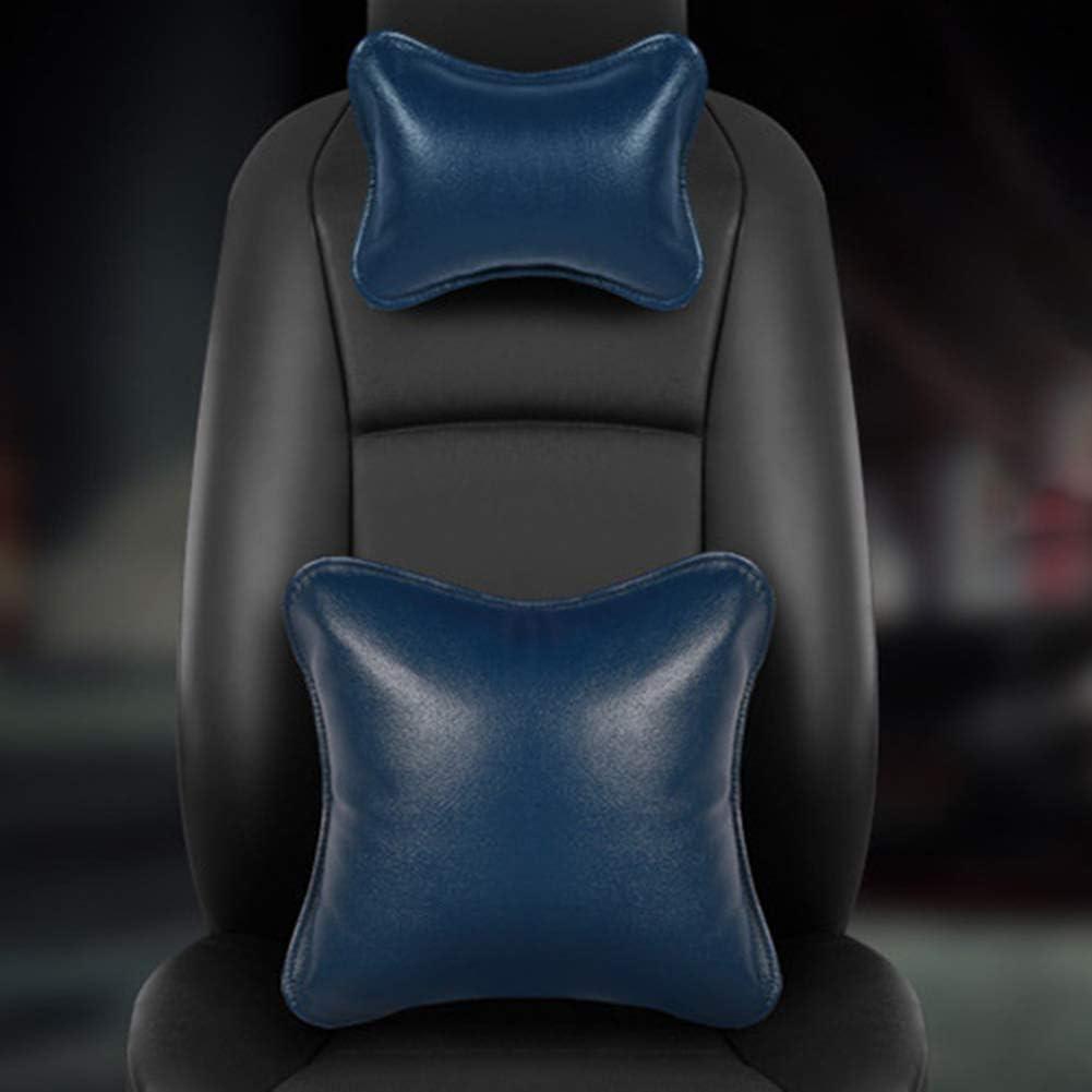 Cuello del coche almohada almohada de espuma de memoria de respaldo ajustable, cómodo y transpirable para asientos de automóviles,Azul