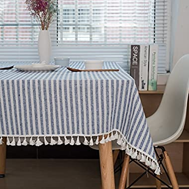 Lahome Stripe Tassel Tablecloth - Heavy Weight Cotton Linen Table Cover Kitchen Dining Room Restaurant Party Decoration (Rectangle - 55  x 86 , Blue)