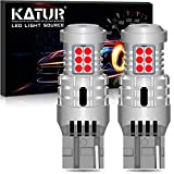 KATUR T20 7440 W21W 7440NA LED Bulbs Super Bright 12pcs 3030 & 8pcs 3020 Chips Canbus Error Free Replace for Turn Signal Reverse Brake Tail Stop Parking RV Lights,Brilliant Red(Pack of 2)
