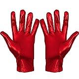 Skeleteen Metallic Red Costume Gloves - Shiny Red Superhero Evening Stretch Dress Glove Set for Men, Women and Kids