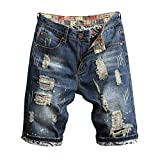 KINGOLDON Men's Loose Straight Denim Shorts Casual Jeans Shorts with Broken Holes and Pleated Stitching