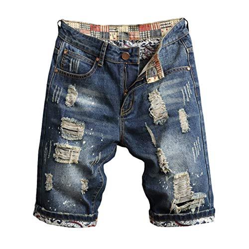Celucke Herren Jeans Shorts Patches Kurze Hose Sommer Bermuda Denim im Used-Look, Männer Vintage Jeanshose Label Moderne Slim Fit Mix (Blau, W33)