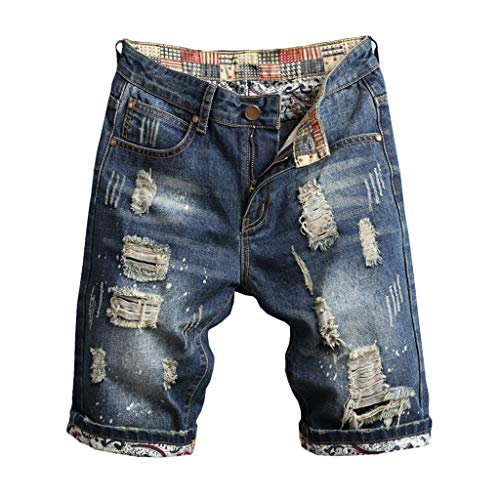 Celucke Herren Jeans Shorts Patches Kurze Hose Sommer Bermuda Denim im Used-Look, Männer Vintage Jeanshose Label Moderne Slim Fit Mix (Blau, W36)