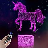 FULLOSUN 3D Kids Unicorn Night Light Optical Illusion Bedside Lamp,16 Colors...