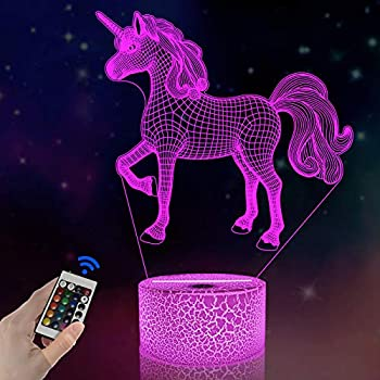 FULLOSUN 3D Kids Unicorn Night Light Optical Illusion Bedside Lamp,16 Colors Change with Remote Control Home Decor Xmas Birthday Gift for Childs Girls Women
