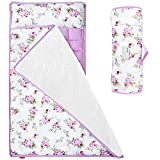 Moonsea Toddler Nap Mat Floral, Removable Pillow and Fleece Minky Blanket, Lightweight and Soft Perfect for Kids Preschool, Daycare, Travel Sleeping Bag for Girls, Designed to Fit on a Standard Cot