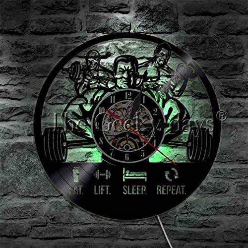 LIMN Eat Lift Sleep Repeat Workout Gym Señal de luz LED Reloj de Pared con Registro de Vinilo Ejercicio Gimnasio Levantamiento de Pesas Lámpara de Pared Deportiva