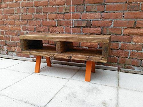 Red Cottage Meubels Tv staan hedendaagse rustieke industriële tv-standaard of salontafel 90 cm funky Oranje poten
