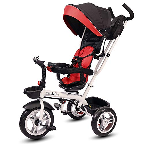 Little Olive Roller Coaster - Stylish Baby Tricycle / Kids Trike / Bicycle / Ride On with Canopy and Push Bar for Kids / Baby | Suitable for Boys & Girls - (1 to 6 Years) (Red and Black)