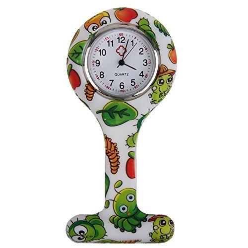 Sanwood, orologio da tasca per infermieri, in silicone, con spilla per essere fissato alla divisa, fantasia stampata Type 2 Taglia unica