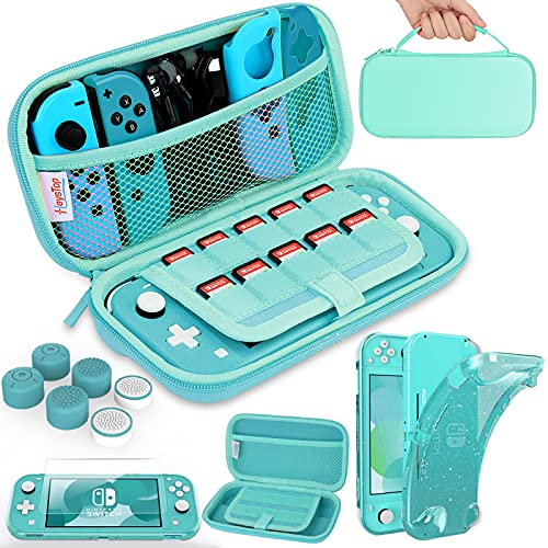 HEYSTOP Compatible with Switch Lite Carrying Case, Switch Lite Case with Soft Glitter TPU Protective Case Games Card 6 Thumb Grip Caps for Nintendo Switch Lite Accessories Kit(Turquoise)