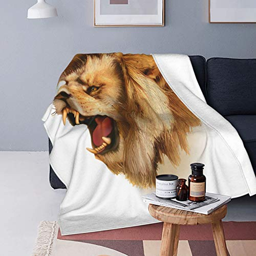 Felpa Manta de Tiro Suave Ligero,Cubre rugiente Cabeza de león Salvaje Safari Animal Africano Dibujos Animados majestuosos como impresión,Manta de Cama Edredón de Viaje para Sofá Cama,60' X 80'