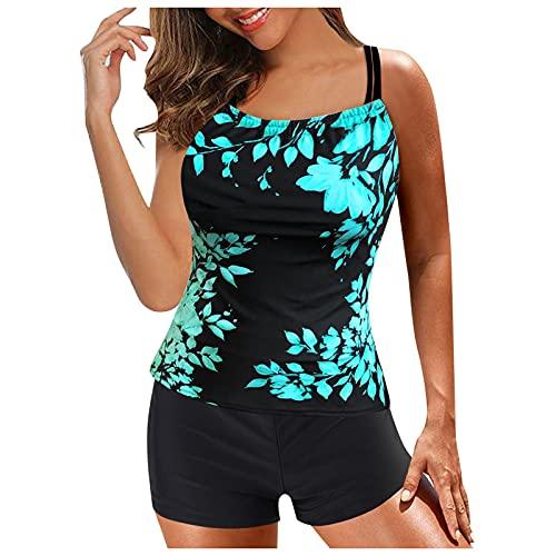 Zldhxyf Traje de baño deportivo para mujer, de malla de dos piezas, elegante traje de baño con braguitas para la playa, azul, XL
