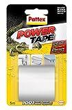 Pattex Power Tape, cinta multiusos resistente, fuerte, corte fácil, blanco, 5 m