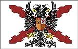 Durabol Bandera de Cruz DE BORGOÑA con Águila Bicéfala -Aguila Bicéfala Cruz de San Andrés150X90 CM Flag Satin …