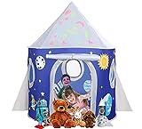 Tente Enfant Tente de Jeu Fusée Tente pour Enfants Portatif avec Étoiles Brillantes, Tente Pop Up...