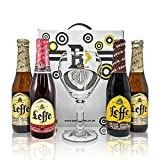Leffe Belgian Trappist Hamper Gift Set with Official Leffe Chalice Glass - Blonde, Bruin & Ruby