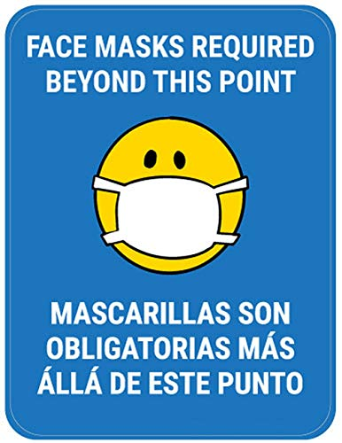 Segnaletica di sicurezza Vinly Decal Maschere per il viso necessarie oltre questo punto Bilingue con maschera facciale Emoji - Blu - Cartello per pavimento 12x15 pollici Prevenire Covid 19