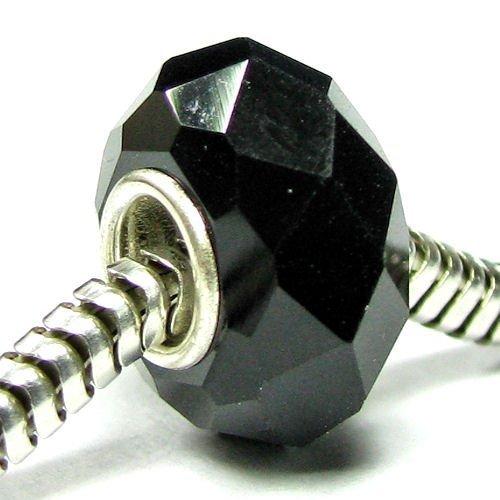 Queenberry Abalorio colgante de plata de ley con cristal negro azabache compatible con pulseras de cadena de cable de serpiente de 3 mm
