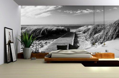 Delester Design Décor mural Papier peint intissé vinyle - Pont en bois sur plage de sable en noir et blanc