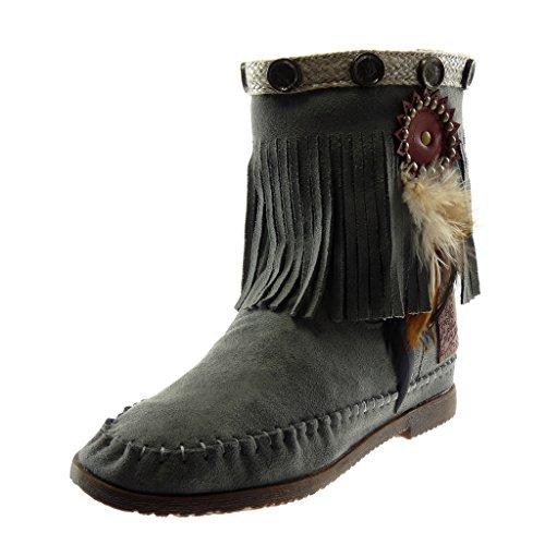 Angkorly - Damen Schuhe Stiefeletten Stiefel - Mokassin Stiefel - Folk - Slip-On - Fransen - Feder - Nieten - besetzt Blockabsatz 1.5 cm - Grau M866 T 37