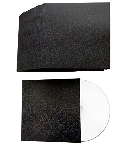 CD Kartonstecktaschen Schwarz-Abstrakt Design, bedruckte CD Hüllen aus Karton für je 1 CD/DVD/Blu-ray Rohling - 50 Stück