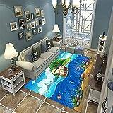 Alfombra De Área, Alfombra 3D Hermosa Isla De Dibujos Animados Barco Impreso Decoración Para El Hogar Antideslizante Suave 160X230Cm, Alfombra Para Habitación De Niños