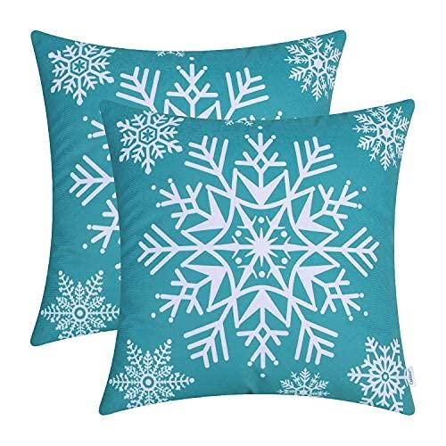 Juego de 2 fundas de almohada de forro polar acogedoras para sofá, cama, copos de nieve, 45,7 x 45,7 cm, color verde azulado