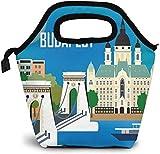 Edificio de la ciudad Puente de cadena Budapest Hungría Mapa Bolsa de almuerzo aislada Caja de Bento personalizada Enfriador de picnic Bolso portátil Bolsa de almuerzo para mujeres Chica Hombres Niño