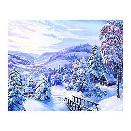 5d Diy pintura de diamantes punto de cruz costura paisaje de nieve cabina bordado de diamantes paisaje natural decoración del hogar imagen WZ-30x40cm