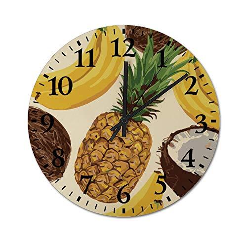 TattyaKoushi - Reloj de pared de madera para el hogar, diseño de frutas, silencioso, rústico y no se enreda, para salón, dormitorio, cocina, oficina, redondo, 13 x 13 pulgadas, 34 x 34 cm