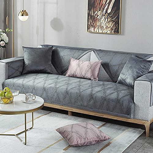 Allenger Sofa Protectors,Luxury Velvet Sofa Covers,Slip Resistant Slipcover,Seat European Style Couch Cover,Sofa Towel for Living Room Decoration-Black gray_90x120cm